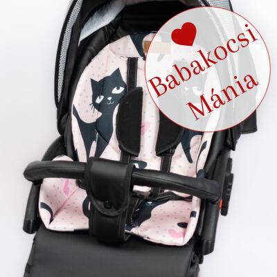 Berry Baby ZIZI babakocsi alátét: Black Cat rózsaszín fekete cicás