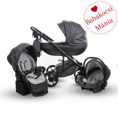 Berry Baby Sojan Aventador 3in1 multifunkciós babakocsi: Graphite szürke eco bőr fekete vázzal