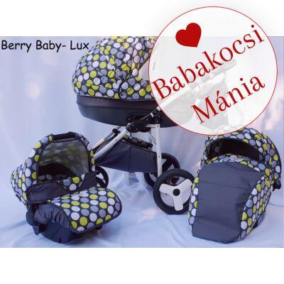Berry Baby- LUX- 3in1 babakocsi szett (autós hordozóval és adapterrel!): Z-23 -GÉL KERÉKSORRAL
