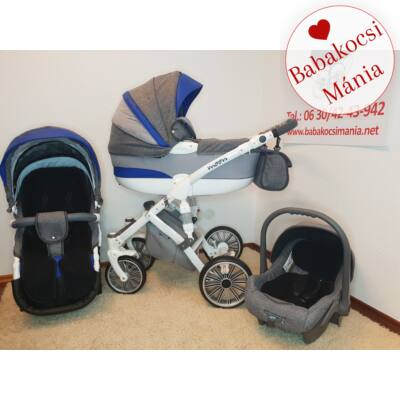 Berry Baby MOON multifunkciós babakocsi szett: BLUE RAINBOW 3in1 (autós hordozóval és adapterrel!)