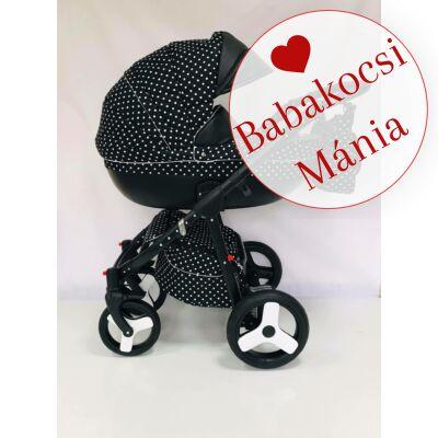 Berry Baby Macaron 3in1 multifunkciós babakocsi szett (autós hordozóval és adapterrel): Fekete alapon fehér pöttyös KÉSZLETRŐL