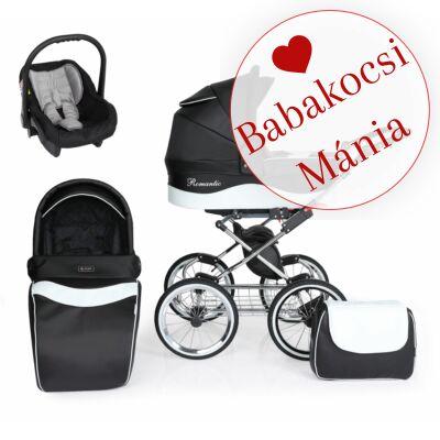 Kunert Romantic Exclusive 3in1 babakocsi szett (autós hordozóval és adapterrel): Fekete - fehér